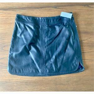 Banana Republic Leather Mini Skirt - Navy Blue